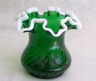 Vintage Fenton Emerald Green Milk Glass Rim Ruffle Vase