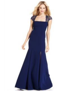 Xscape Dress, Cap Sleeve Lace Ruched Gown   Womens Dresses
