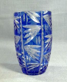 Art Deco Bohemian Loetz Intaglio Cobalt Blue Cut to Clear Crystal