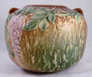 RARE Roseville Pottery Wisteria Brown Squat Vase