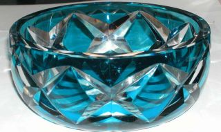 French Signed St Louis Teal Blue Cut to Clear Crystal Art Glass Bowl