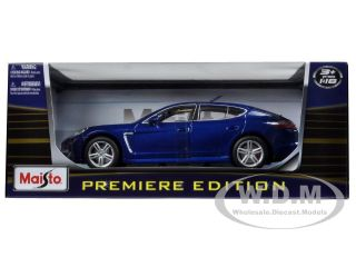 Brand new 118 scale diecast model car of Porsche Panamera Turbo Blue