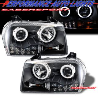2005 2009 Chrysler 300 Dual CCFL Halo Projector Headlights Black w LED