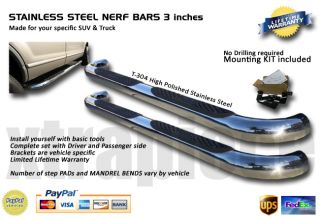 07   10 TOYOTA TUNDRA DOUBLE CAB Stainless Steel SIDE STEPS NERF BAR