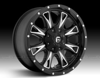 18 INCH FUEL THROTTLE BLACK/ MACHINED WHEEL/ RIM AND TIRE PACKAGE