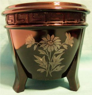 Vintage Black Amethyst Glass Oriental Styled Urn Pot with Daisy Motif