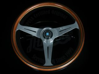 Nardi Classic Wood Grain Steering Wheel w Polished Spokes Horn Button