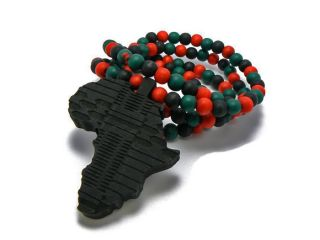BLACK WOOD AFRICA PENDANT COLORED BEADS CHAIN AFRICAN CONTINENT WOODEN