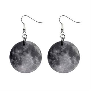 Full Moon 1 Round Button Earrings New
