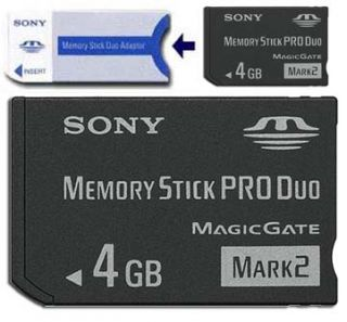 New 4G 4GB MS Memory Stick Pro Duo Card with FREE Adapter For Sony