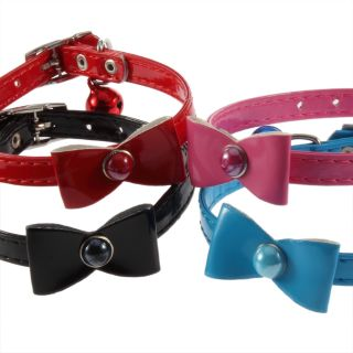 35m Fashion Cute Bow Tie Bowtie PU Leather Collar For Dog Puppy Cat