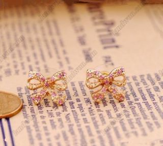 Gk4851 New Fashion jewelry Womens Retro Bowknot Diamond Earrings Stud