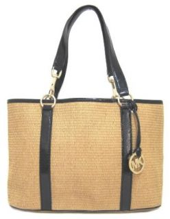 Michael Kors East West Large Straw Tote Bag, Black Patent