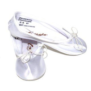 Toddler Girl White Satin Ballet Dance Shoes Slipper Size 8.5 Shoes