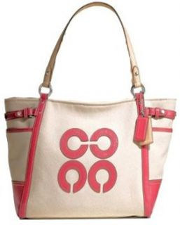 Coach Natalie Ivory White Canvas Primrose Pink Tote Bag 16756 Shoes