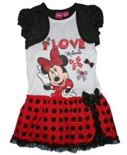 Minnie Mouse Girls Fashion Dress (XS 4/5, Black/Red