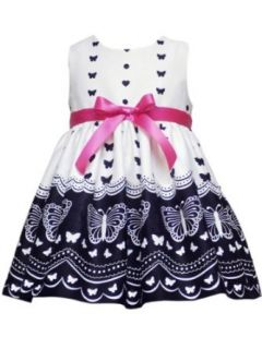 Rare Editions Baby Girls Infant Border Print Dress, White