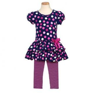Bonnie Jean Blue Pink Dot 2pc Fall Baby Girl Outfit 12M