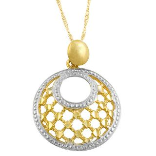 Fremada 14k Two tone Gold Diamond cut Pendant Goldfill Singapore Chain