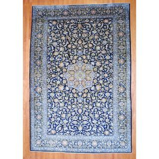 knotted Isfahan Navy/ Light Blue Wool Rug (99 x 146)
