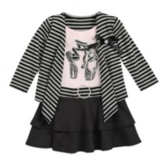 Girls Black Stripe Ruffled Dress Glitter Ballet Shoes Clothing