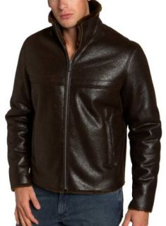 Kenneth Cole REACTION Mens Faux Shearling Coat, Brown, XX