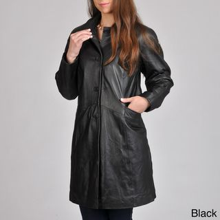 Excelled Womens Leather Button front Swing Coat