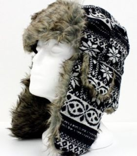Trooper Hat Black Warm Faux Fur Snow Flake Pilot Aviator