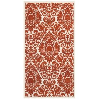 Porcello Damask Ivory/ Red Rug (2 x 37)