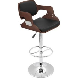Modern Cherry Wood Barstool with Faux Leather Seat