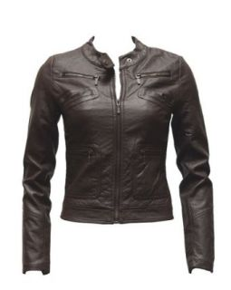 Ladies Plus Size Brown Synthetic Leather Jacket Button