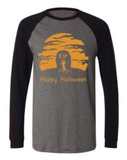 Happy Halloween Zombie Hand Full Moon Mens Baseball Shirt