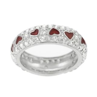 Tressa Sterling Silver Pave CZ Red Enamel Hearts Ring