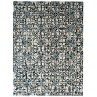 Handmade Majestic Light Blue/ Ivory Wool Rug (8 x 10)