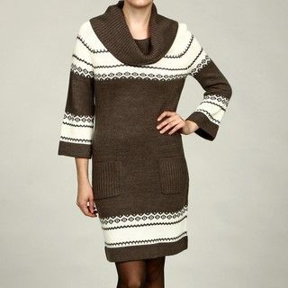 London Times Womens Cowl Neck Sweater Dress FINAL SALE