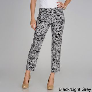 Sharagano Womens Leopard Print Slim Leg Ankle Pants