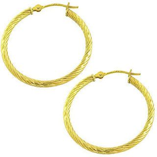 Fremada 14k Yellow Gold Diamond cut Hoop Earrings