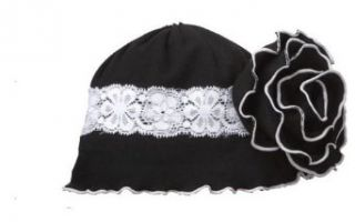 Lettuce Edge Baby Girl Ruffle Hat (Black) Clothing