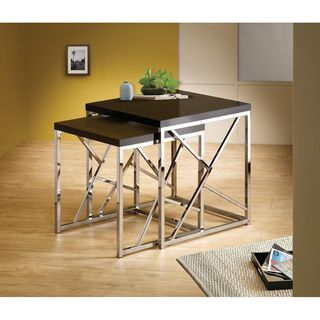Black Chrome Finish Nesting End Side Table Stand (Set of 2