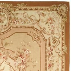 Hand knotted French Aubusson Beige/ Ivory Wool Rug (4 x 6