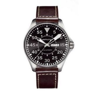 Hamilton Mens Black Dial Leather Strap Watch