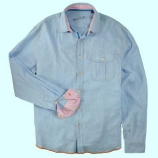 Arnold Zimberg Mens Linen Cotton Blend Shirt, Powder Blue