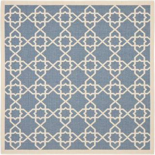 Blue/ Beige Indoor Outdoor Rug (67 Square)