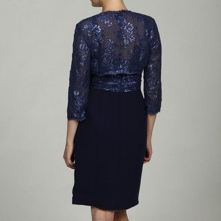JS Collections Womens Navy Lace 2 piece Dress