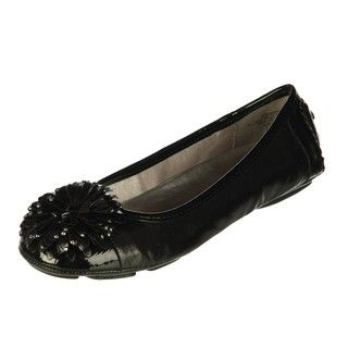Anne Klein Womens BamBam Black Ornamented Flats