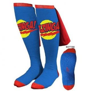Big Bang Theory Blue Bazinga Caped Socks Clothing
