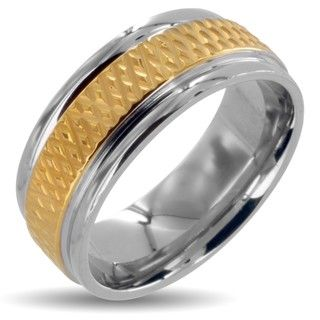 Polished Stainless Steel Mens Goldplated Grooved Center Wedding Band