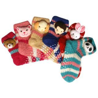 Animal Face Thick Knit 6 Pack Footie Slipper Socks Shoes