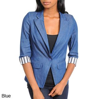 Stanzino Womens One Button Denim Blazer
