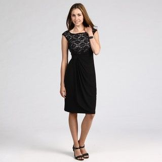 Connected Apparel Womens Black/ Ivory Lace Dress